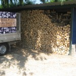mengeling hardhout, gezaagd op 33 cm